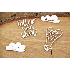 Clouded Hearts - Balloon - Chipboard Set - Scrapiniec