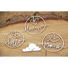 Clouded Hearts - Princess - Chipboard Set - Scrapiniec