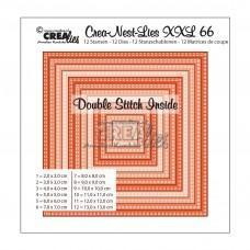Kovinske šablone - Crea-Nest-Lies XXL Dies no.66 - Squares with Double Stitch Inside