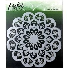 Plastična šablona - Peacock Mandala - Picket Fence Studios