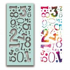 Plastična šablona - Number Collage Stencil - Polkadoodles