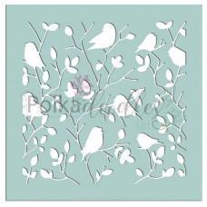 Plastična šablona - Tweet Branches 6x6 Inch Stencil - Polkadoodles