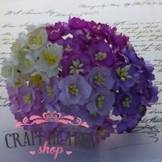 Mix vijola, lila in beli češnjevi cvetovi - 25mm