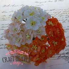 Mix oranžni in beli češnjevi cvetovi - 25mm