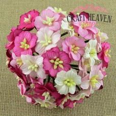 Roza in beli cvetovi jablane - mix - 25mm
