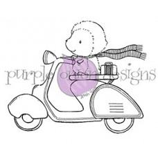 Štampiljka - Cruiser (Hedgehog on Vespa/Moped) - Purple Onion Designs