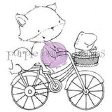 Štampiljka - Free Spirits (Fox and Frog on Bicycle) - Purple Onion Designs