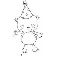 Štampiljka - Happy (Party Bear) - Purple Onion Designs