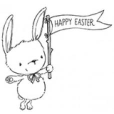 Štampiljka - Ivy (Bunny with Easter Flag) - Purple Onion Designs