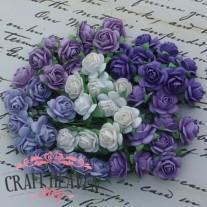 Mixed Purple/Lilac and White Mulberry Paper Open Roses - 15mm