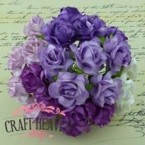 Mixed Purple/Lilac/White Mulberry Paper Wild Roses - 30mm