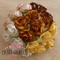 Mixed Earth Tone Mulberry Paper Wild Roses - 30mm