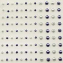 Self-Adhesive Half-Pearls - Light Gray & Dark Blue
