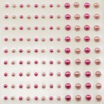 Self-Adhesive Half-Pearls - Pink & Fuchsia