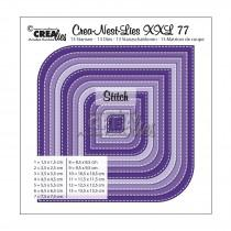 Crea-Nest-Lies XXL Dies no. 77 - Square with 2 Rounded Corners with Stitchlines