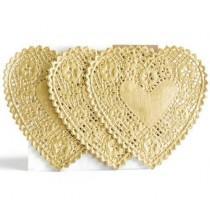 Paper doilies - Heart 4'' - Gold