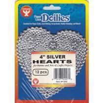 Paper doilies - Heart 4'' - Silver