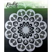 Peacock Mandala Stencil - Picket Fence Studios