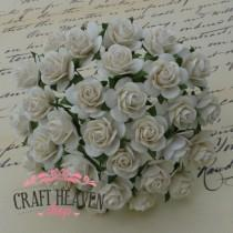 Ivory Mulberry Paper Open Roses - 10mm