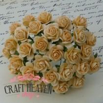 Autumn Gold Mulberry Paper Open Roses - 10mm