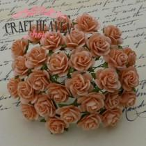 Peach Mulberry Paper Open Roses - 10mm