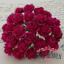Fuchsia Mulberry Paper Open Roses - 10mm