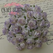 2-Tone Pale Lilac Mulberry Paper Open Roses - 10mm