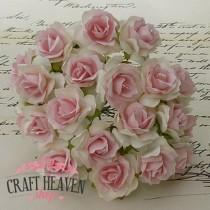 White With Baby Pink Centre Mulberry Paper Wild Roses - 30mm