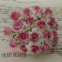 White With Dusky Pink Centre Mulberry Paper Wild Roses - 30mm
