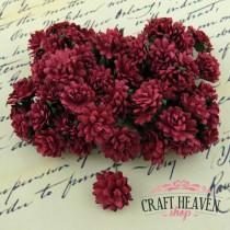 Deep Red Mulberry Paper Aster Daisy Stem Flowers - 15mm