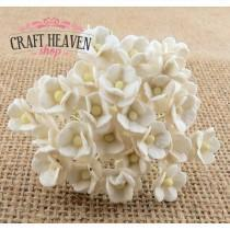 Miniature White Mulberry Paper Sweetheart Blossoms - 10mm