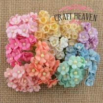 Miniature Mixed Pastel Mulberry Paper Sweetheart Blossoms - 10mm