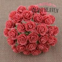 Coral Mulberry Paper Open Roses - 10mm