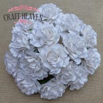 White Tuscany Mulberry Paper Roses - 35mm