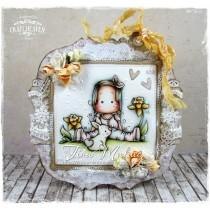 OOAK Handmade Greeting Card - Sitting Spring Tilda
