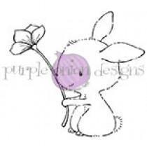 Bella (Bunny Holding Long Flower) - Purple Onion Designs