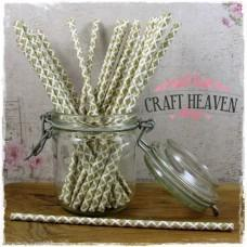Damask Paper Straws - Gold