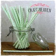 Damask Paper Straws - Light Green