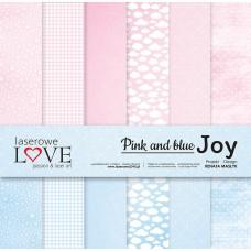 Set of papers - Pink and blue JOY - 30,5 x 30,5 cm - Laserowe LOVE