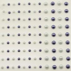 Self-Adhesive Half-Pearls - Light Gray & Dark Blue
