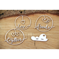 Clouded Hearts - Together - Chipboard Set - Scrapiniec