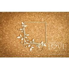 Square frame with leaves - Fleur - Laserowe LOVE