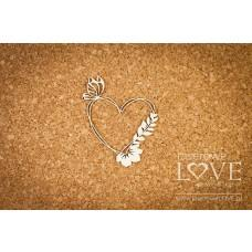 Heart frame with butterfly and flower - Soufre - Laserowe LOVE