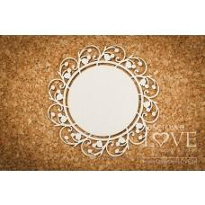 Round frame with lilies of the valley - First Love - Laserowe LOVE