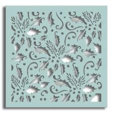 Holly Flourish 6x6 Inch Stencil - Polkadoodles