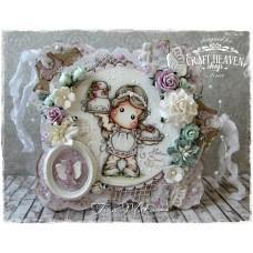 OOAK Handmade Greeting Card - Rose Cake Tilda