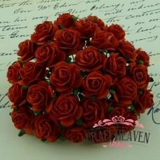 Red Mulberry Paper Open Roses - 20mm
