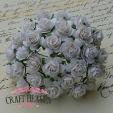 White Mulberry Paper Open Roses - 20mm