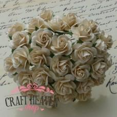 Deep Ivory Mulberry Paper Open Roses - 10mm