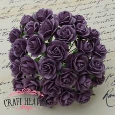 Purple Mulberry Paper Open Roses - 10mm
